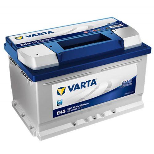 Varta Blue Dynamic 12V 72Ah 680A Jobb+ autó akkumulátor (E43) - 572409